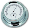 Ship's Thermometer / Hygrometer - Chrome Plated Brass | Talamex Series 125 Ship's Instruments
