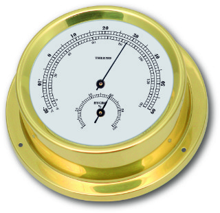 Ship's Thermometer / Hygrometer - Brass | Talamex Series 125 Ship's Instruments