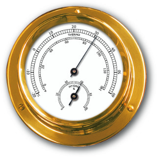 Ship's Thermometer / Hygrometer - Brass | Talamex Series 110  Ship's Instruments
