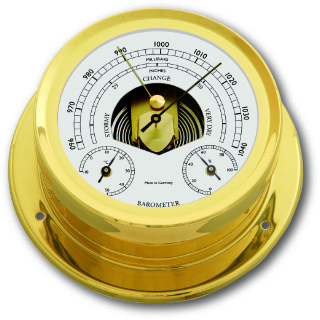 Ship's Barometer / Thermometer / Hygrometer - Chrome Plated Brass |Talamex Series 165